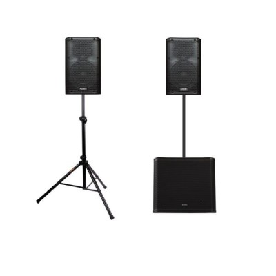 2x QSC K12 + 1x QSC KW181 + 2x speaker stand