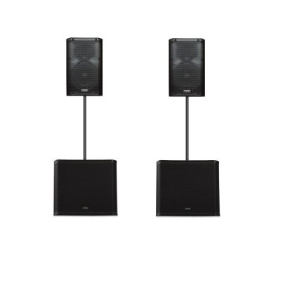 2x QSC K12 + 2x QSC KW181 + 2x speaker stand